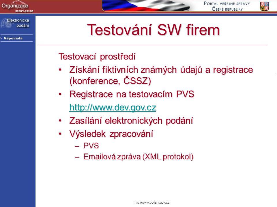 http://www.podani.gov.cz Testovací prostředí Získání fiktivních známých údajů a registrace (konference, ČSSZ)Získání fiktivních známých údajů a regist