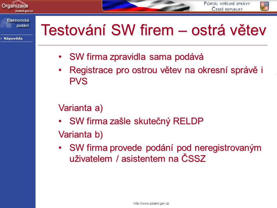http://www.podani.gov.cz SW firma zpravidla sama podáváSW firma zpravidla sama podává Registrace pro ostrou větev na okresní správě i PVSRegistrace pr