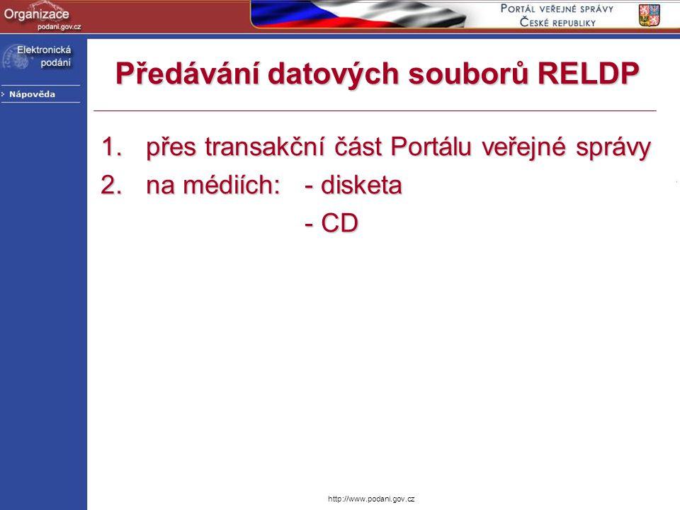 http://www.podani.gov.cz Registrace organizace na PVS Vložení informací hlavního uživatele organizaceVložení informací hlavního uživatele organizace
