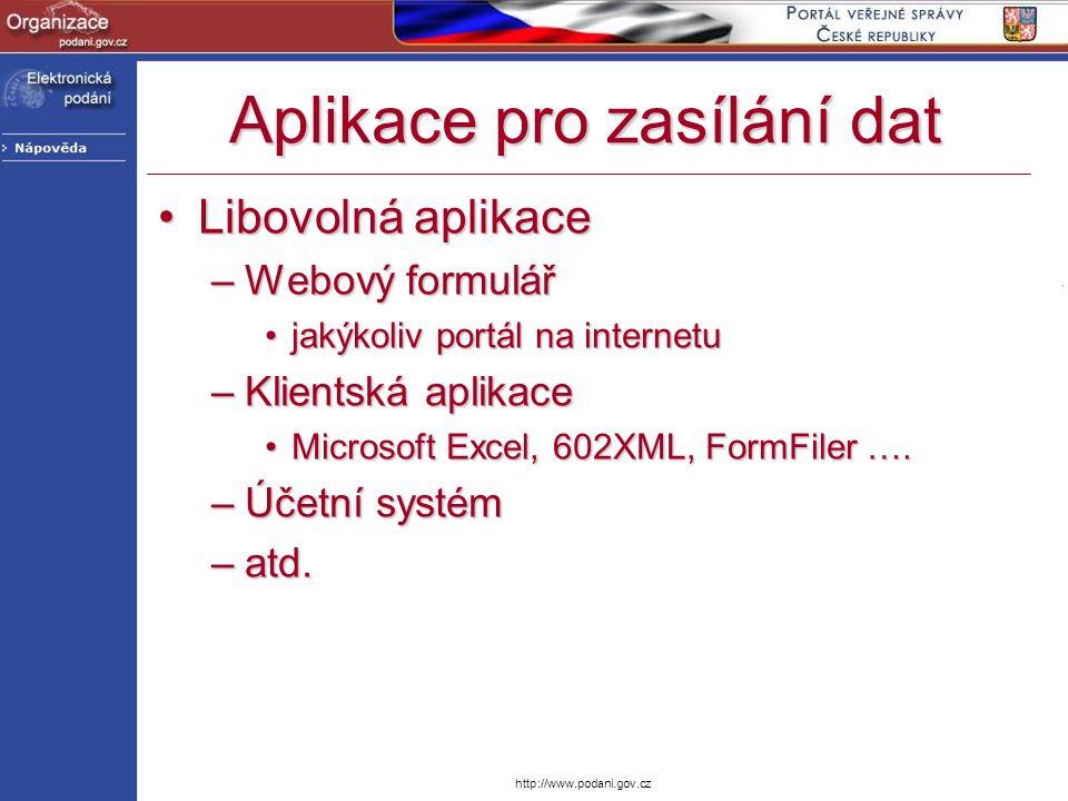 http://www.podani.gov.cz Aplikace pro zasílání dat Libovolná aplikaceLibovolná aplikace –Webový formulář jakýkoliv portál na internetujakýkoliv portál