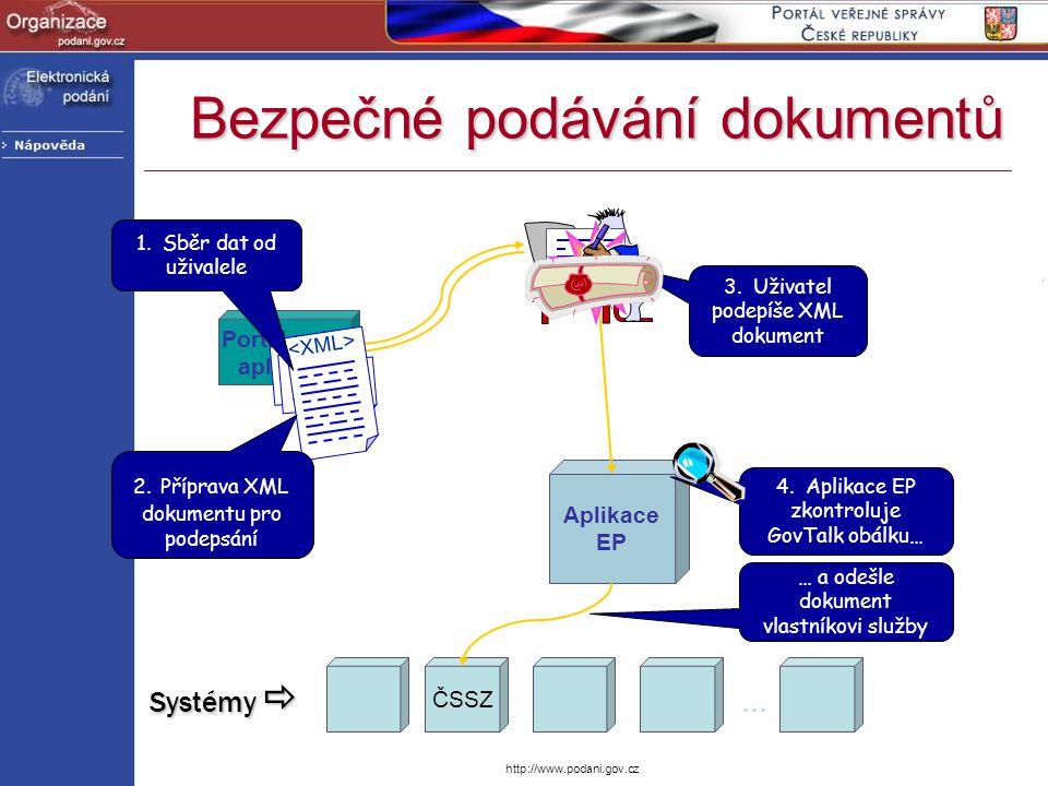 http://www.podani.gov.cz … a odešle dokument vlastníkovi služby ČSSZ Aplikace EP Portál nebo aplikace 2. Příprava XML dokumentu pro podepsání 1. Sběr
