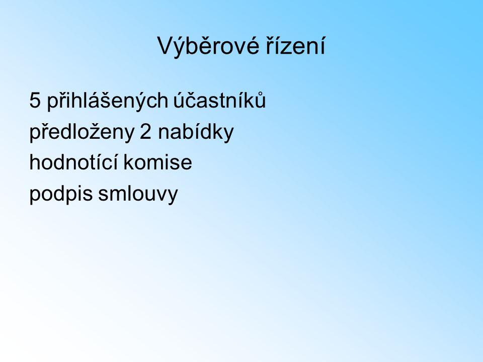 Výběrové řízení 5 přihlášených účastníků předloženy 2 nabídky hodnotící komise podpis smlouvy
