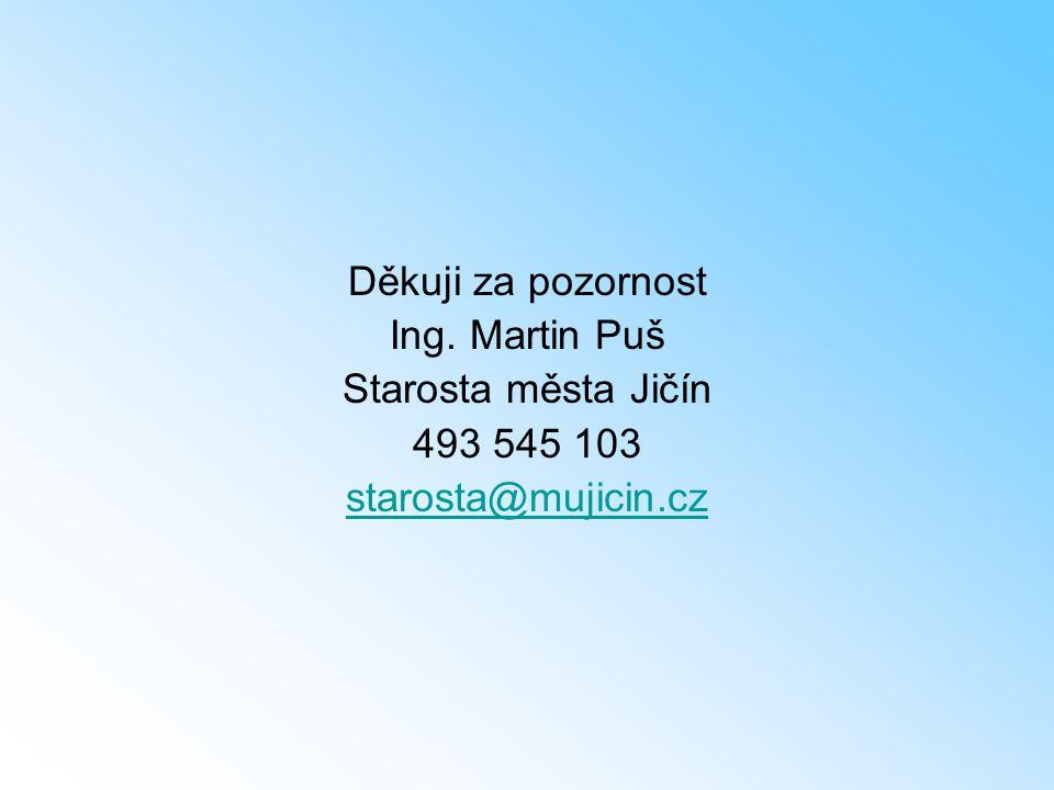 Děkuji za pozornost Ing. Martin Puš Starosta města Jičín 493 545 103 starosta@mujicin.cz