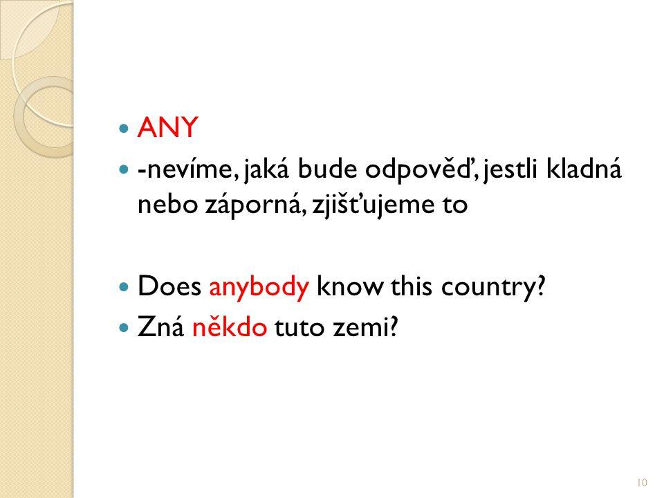 ANY -nevíme, jaká bude odpověď, jestli kladná nebo záporná, zjišťujeme to Does anybody know this country.
