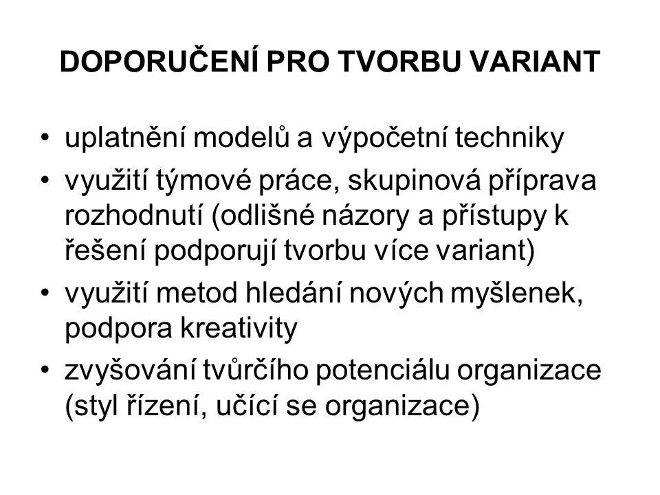 DOPORUČENÍ PRO TVORBU VARIANT uplatnění modelů a výpočetní techniky využití týmové práce, skupinová příprava rozhodnutí (odlišné názory a přístupy k ř