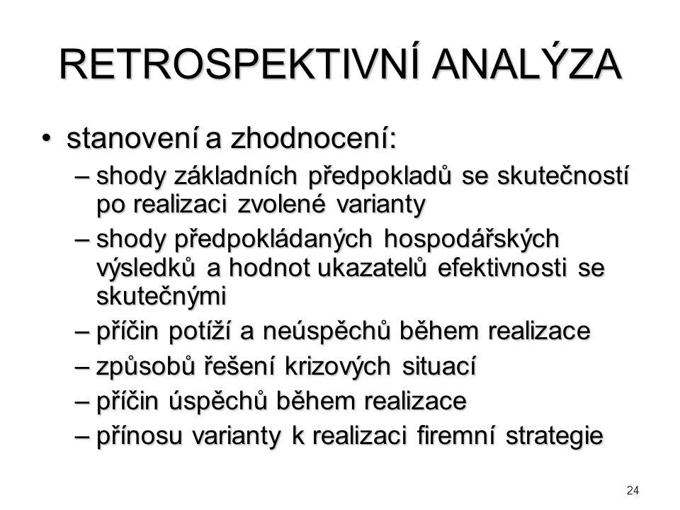 24 RETROSPEKTIVNÍ ANALÝZA stanovení a zhodnocení:stanovení a zhodnocení: –shody základních předpokladů se skutečností po realizaci zvolené varianty –s