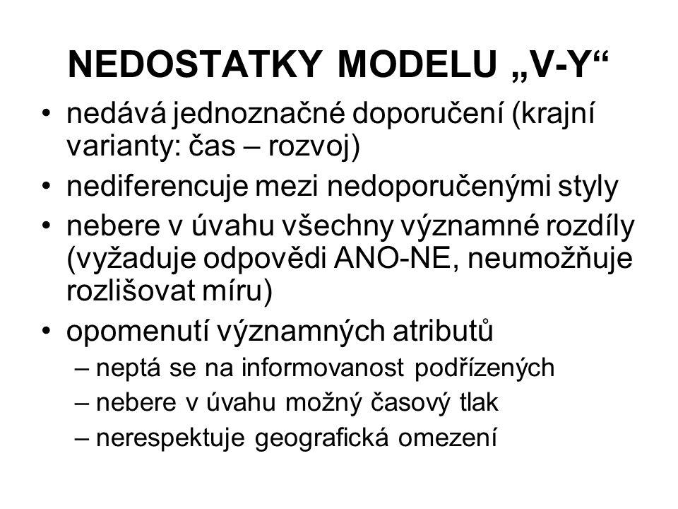 "NEDOSTATKY MODELU ""V-Y"" nedává jednoznačné doporučení (krajní varianty: čas – rozvoj) nediferencuje mezi nedoporučenými styly nebere v úvahu všechny v"