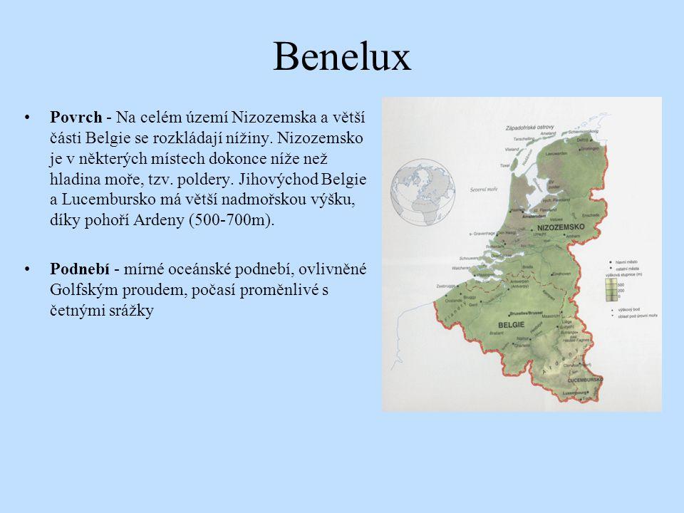 Benelux Povrch - Na celém území Nizozemska a větší části Belgie se rozkládají nížiny. Nizozemsko je v některých místech dokonce níže než hladina moře,