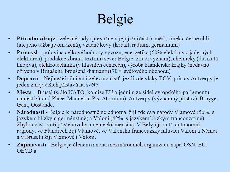 Belgie Přírodní zdroje - železné rudy (převážně v její jižní části), měď, zinek a černé uhlí (ale jeho těžba je omezená), vzácné kovy (kobalt, radium,