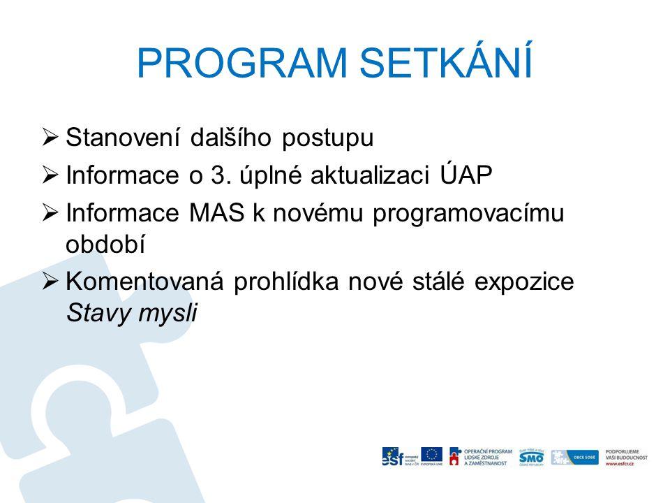 PROGRAM SETKÁNÍ  Stanovení dalšího postupu  Informace o 3.