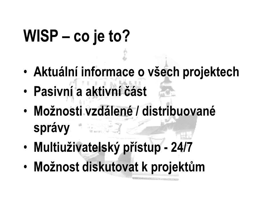 WISP – co je to? Aktuální informace o všech projektech Pasivní a aktivní část Možnosti vzdálené / distribuované správy Multiuživatelský přístup - 24/7
