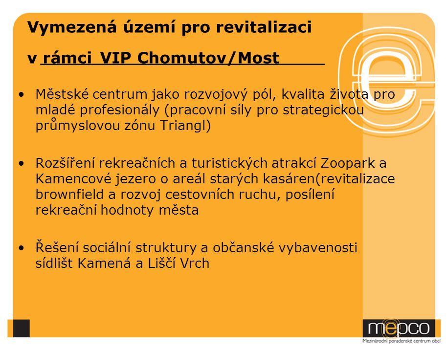 Vymezená území pro revitalizaci v rámci VIP Chomutov/Most Městské centrum jako rozvojový pól, kvalita života pro mladé profesionály (pracovní síly pro