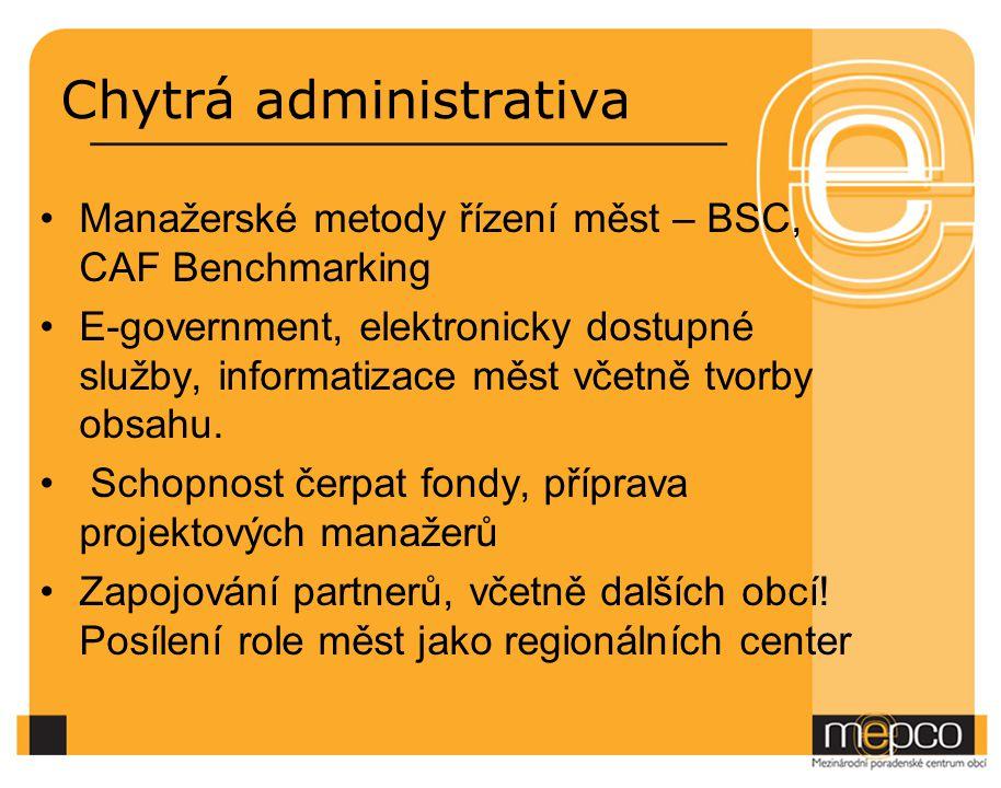 Chytrá administrativa Manažerské metody řízení měst – BSC, CAF Benchmarking E-government, elektronicky dostupné služby, informatizace měst včetně tvorby obsahu.