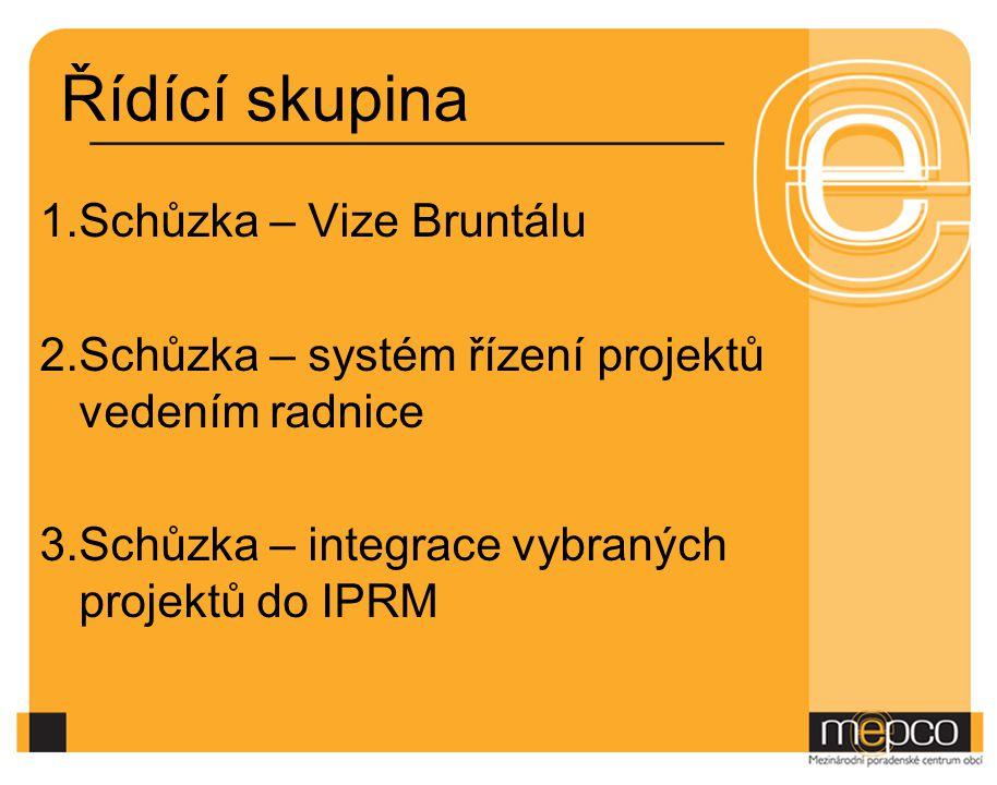 Řídící skupina 1.Schůzka – Vize Bruntálu 2.Schůzka – systém řízení projektů vedením radnice 3.Schůzka – integrace vybraných projektů do IPRM