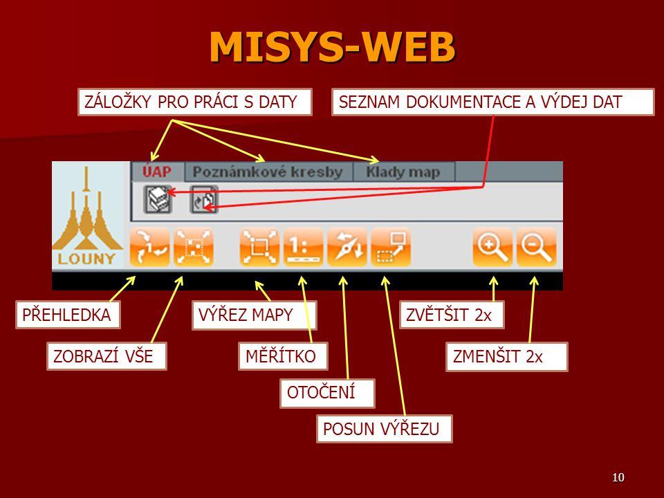 MISYS-WEB ZÁLOŽKY PRO PRÁCI S DATYSEZNAM DOKUMENTACE A VÝDEJ DAT PŘEHLEDKA ZOBRAZÍ VŠE VÝŘEZ MAPY MĚŘÍTKO OTOČENÍ POSUN VÝŘEZU ZVĚTŠIT 2x ZMENŠIT 2x 1