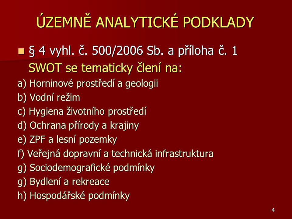 ÚZEMNĚ ANALYTICKÉ PODKLADY § 4 vyhl. č. 500/2006 Sb. a příloha č. 1 § 4 vyhl. č. 500/2006 Sb. a příloha č. 1 SWOT se tematicky člení na: a) Horninové