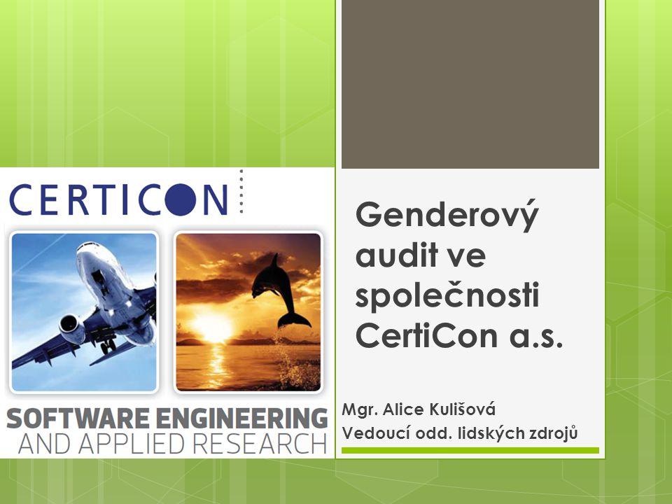 Genderový audit ve společnosti CertiCon a.s. Mgr. Alice Kulišová Vedoucí odd. lidských zdrojů