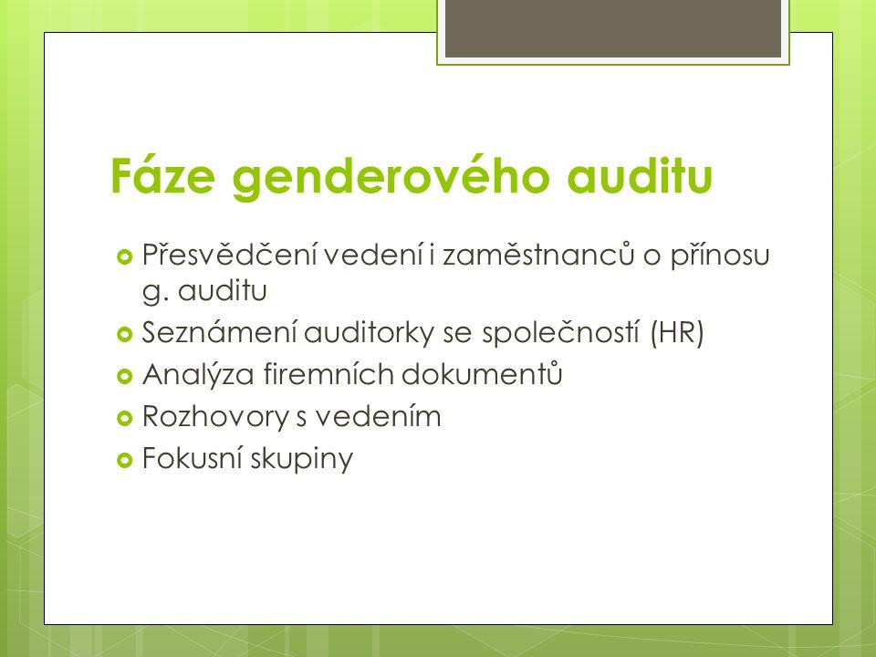Fáze genderového auditu  Přesvědčení vedení i zaměstnanců o přínosu g. auditu  Seznámení auditorky se společností (HR)  Analýza firemních dokumentů