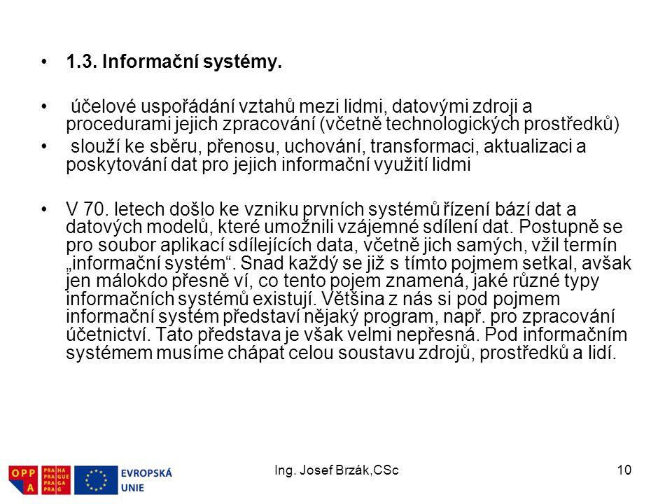 Ing.Josef Brzák,CSc10 1.3. Informační systémy.