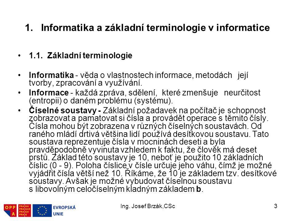 Ing.Josef Brzák,CSc3 1. Informatika a základní terminologie v informatice 1.1.