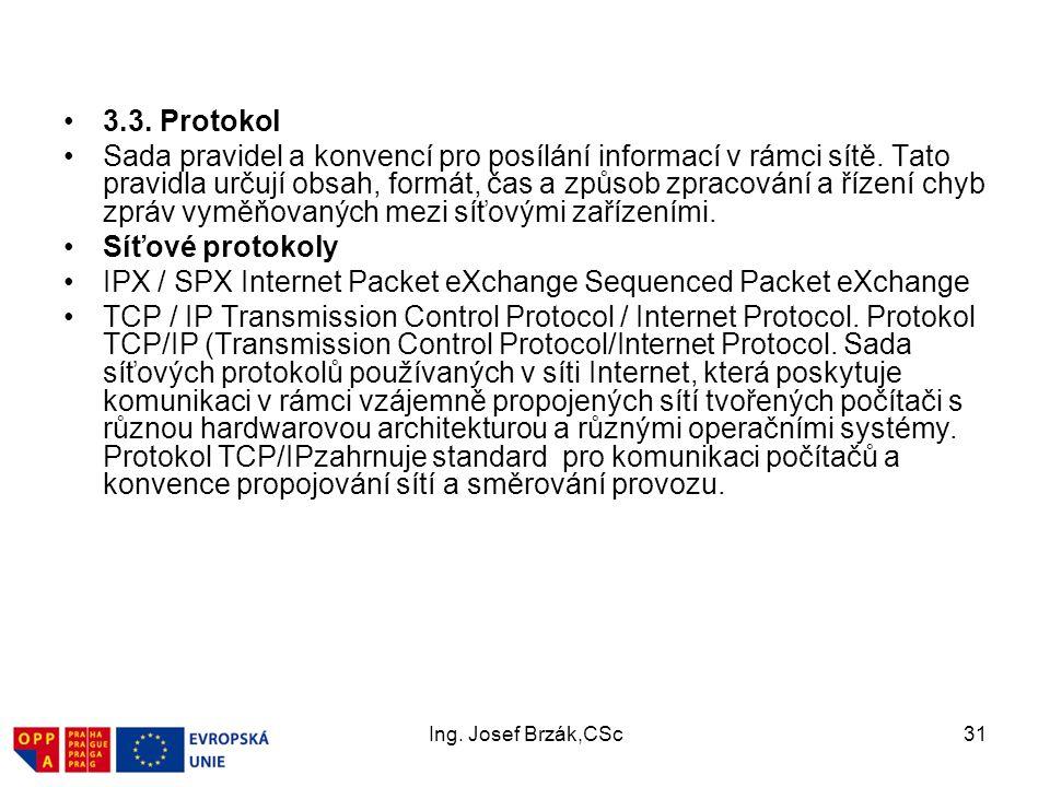 Ing.Josef Brzák,CSc31 3.3. Protokol Sada pravidel a konvencí pro posílání informací v rámci sítě.