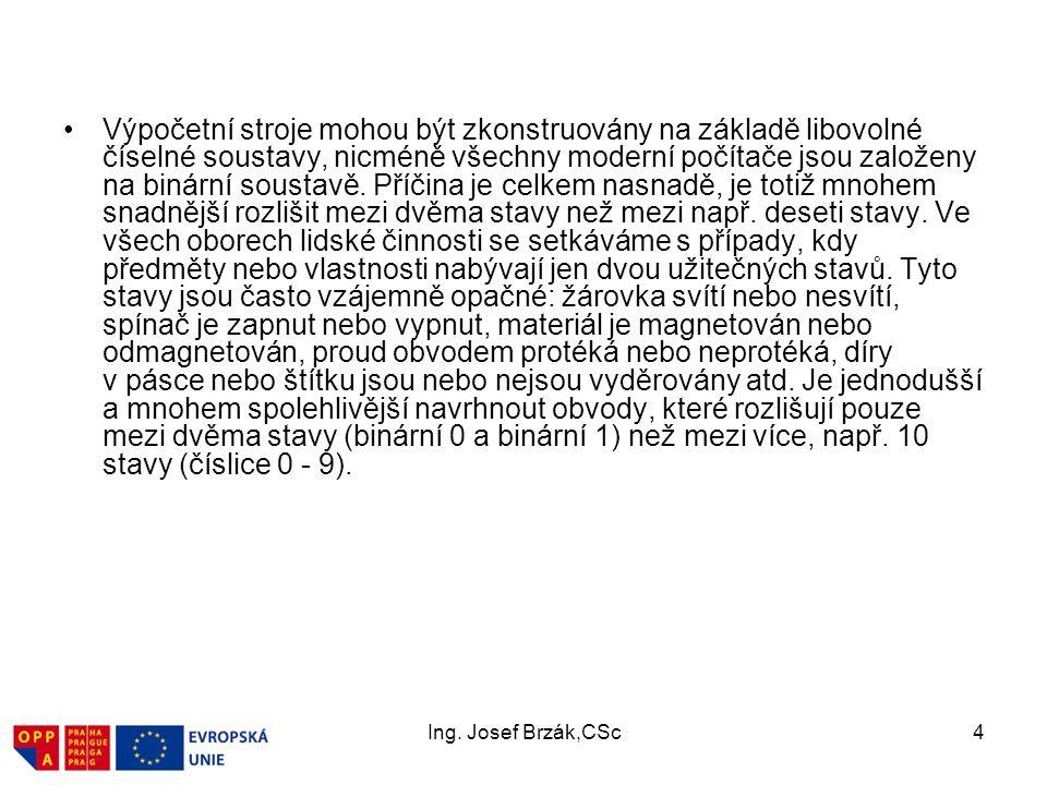 Ing.Josef Brzák,CSc15 1.4. Informatika a informační management.
