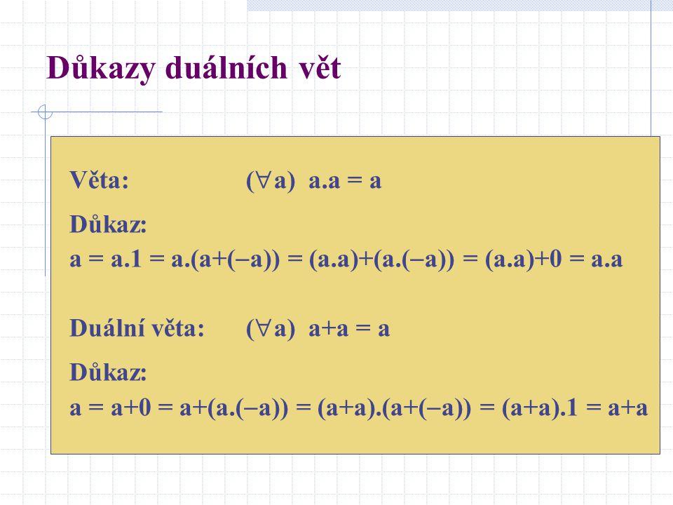 Důkazy duálních vět Věta:(  a) a.a = a Důkaz: a = a.1 = a.(a+(  a)) = (a.a)+(a.(  a)) = (a.a)+0 = a.a Duální věta:(  a) a+a = a Důkaz: a = a+0 = a