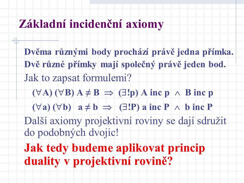 Základní incidenční axiomy Dvěma různými body prochází právě jedna přímka. Dvě různé přímky mají společný právě jeden bod. Jak to zapsat formulemi? (