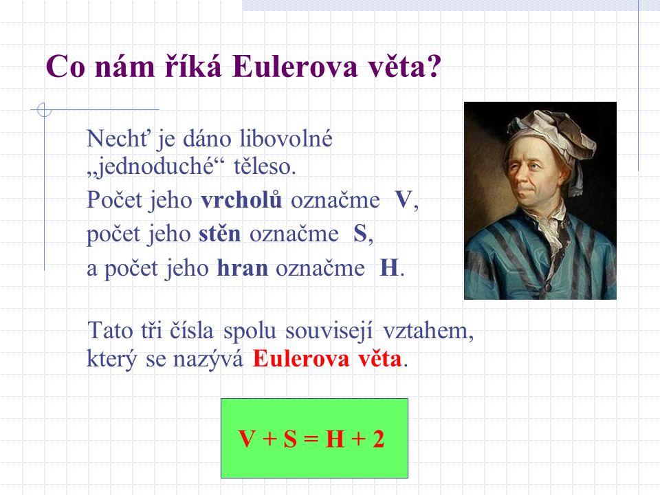 """Co nám říká Eulerova věta? Nechť je dáno libovolné """"jednoduché"""" těleso. Počet jeho vrcholů označme V, počet jeho stěn označme S, a počet jeho hran ozn"""