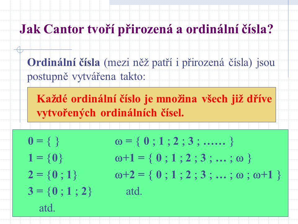 Jak Cantor tvoří přirozená a ordinální čísla.