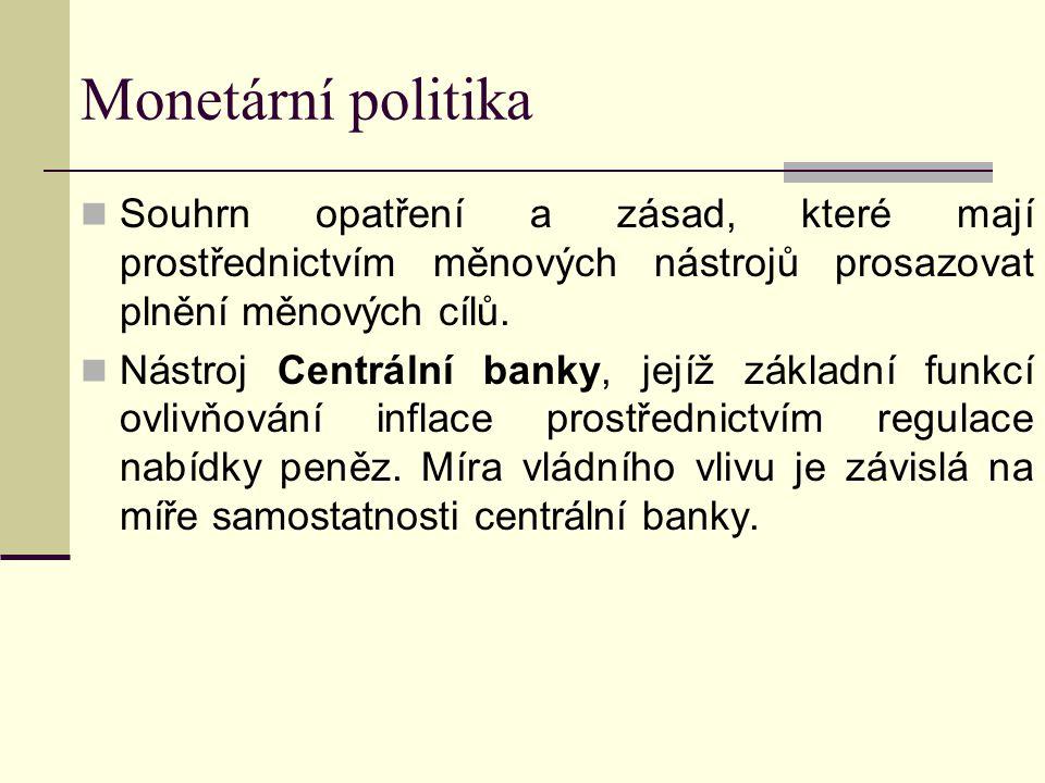 Monetární politika Souhrn opatření a zásad, které mají prostřednictvím měnových nástrojů prosazovat plnění měnových cílů. Nástroj Centrální banky, jej