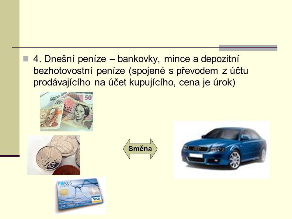 4. Dnešní peníze – bankovky, mince a depozitní bezhotovostní peníze (spojené s převodem z účtu prodávajícího na účet kupujícího, cena je úrok) Směna