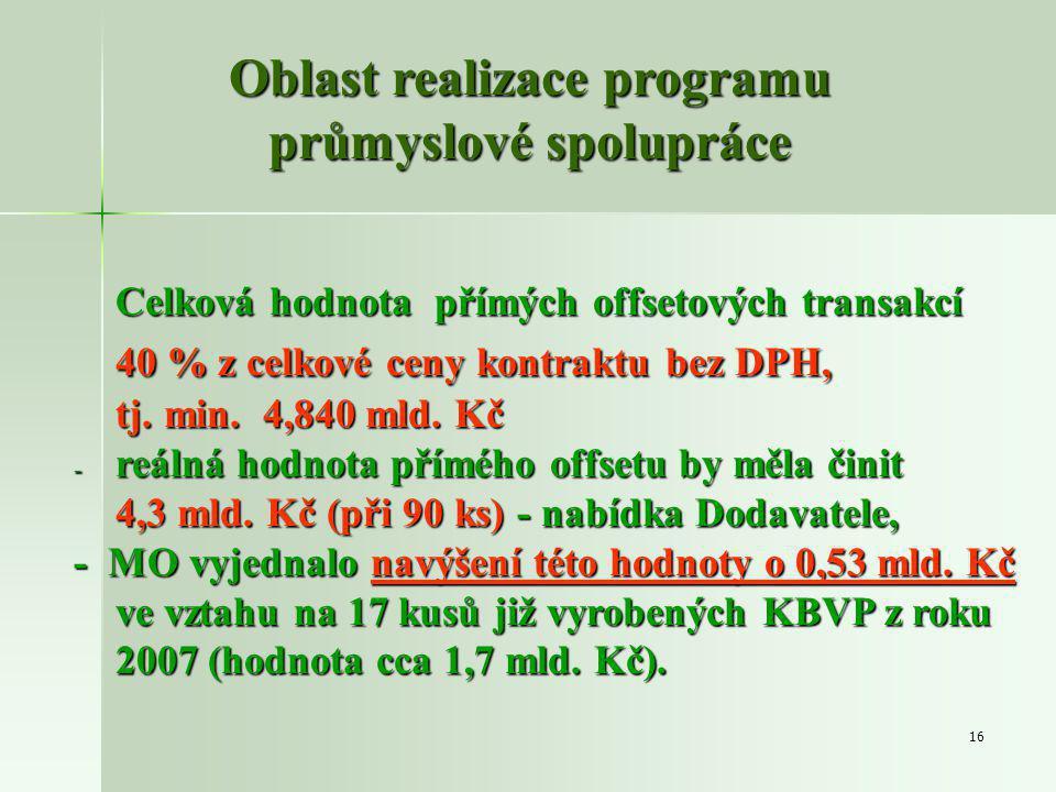 16 Celková hodnota přímých offsetových transakcí 40 % z celkové ceny kontraktu bez DPH, tj.