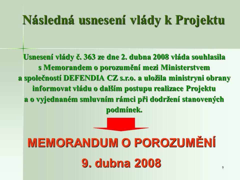 9 Následná usnesení vlády k Projektu Usnesení vlády č.