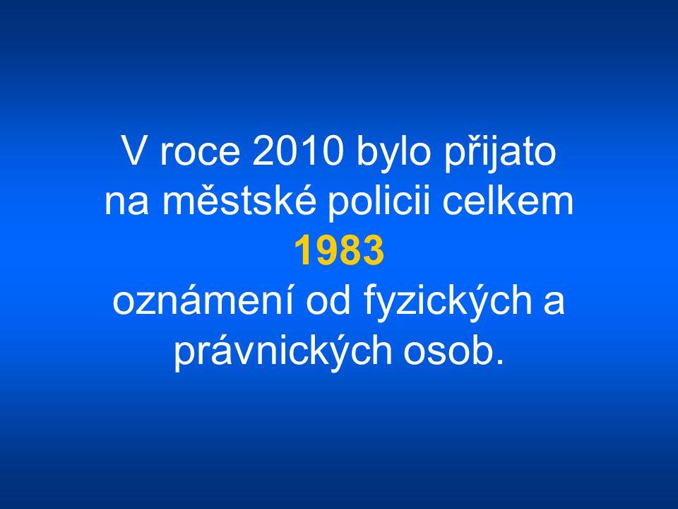 V roce 2010 bylo přijato na městské policii celkem 1983 oznámení od fyzických a právnických osob.