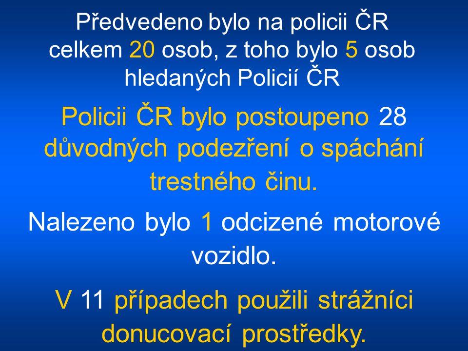 Předvedeno bylo na policii ČR celkem 20 osob, z toho bylo 5 osob hledaných Policií ČR Policii ČR bylo postoupeno 28 důvodných podezření o spáchání trestného činu.