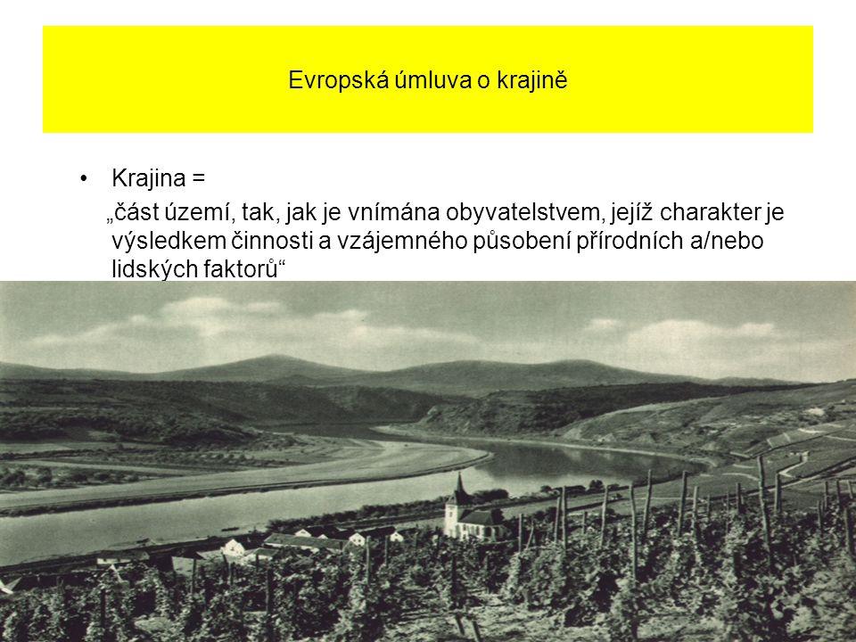 """Evropská úmluva o krajině Krajina = """"část území, tak, jak je vnímána obyvatelstvem, jejíž charakter je výsledkem činnosti a vzájemného působení přírodních a/nebo lidských faktorů"""