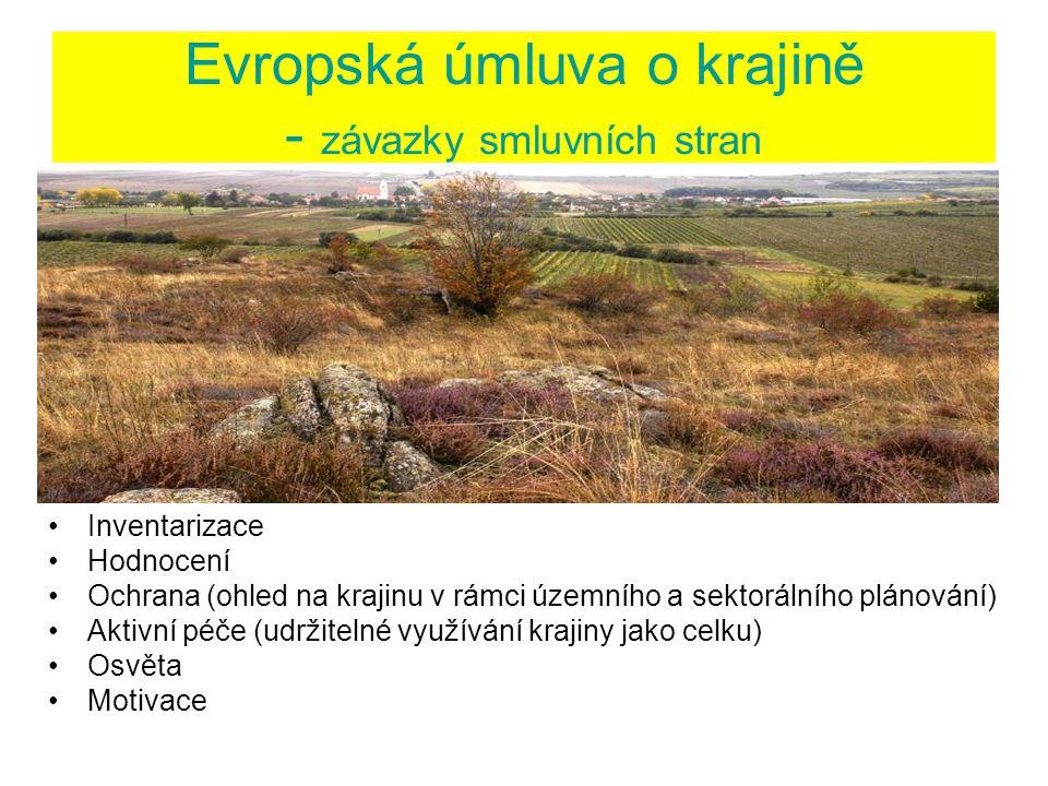 Evropská úmluva o krajině - závazky smluvních stran Inventarizace Hodnocení Ochrana (ohled na krajinu v rámci územního a sektorálního plánování) Aktivní péče (udržitelné využívání krajiny jako celku) Osvěta Motivace