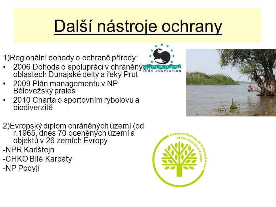 Další nástroje ochrany 1)Regionální dohody o ochraně přírody: 2006 Dohoda o spolupráci v chráněných oblastech Dunajské delty a řeky Prut 2009 Plán man