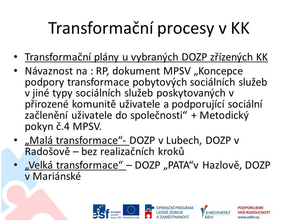 """Transformační procesy v KK Transformační plány u vybraných DOZP zřízených KK Návaznost na : RP, dokument MPSV """"Koncepce podpory transformace pobytových sociálních služeb v jiné typy sociálních služeb poskytovaných v přirozené komunitě uživatele a podporující sociální začlenění uživatele do společnosti + Metodický pokyn č.4 MPSV."""