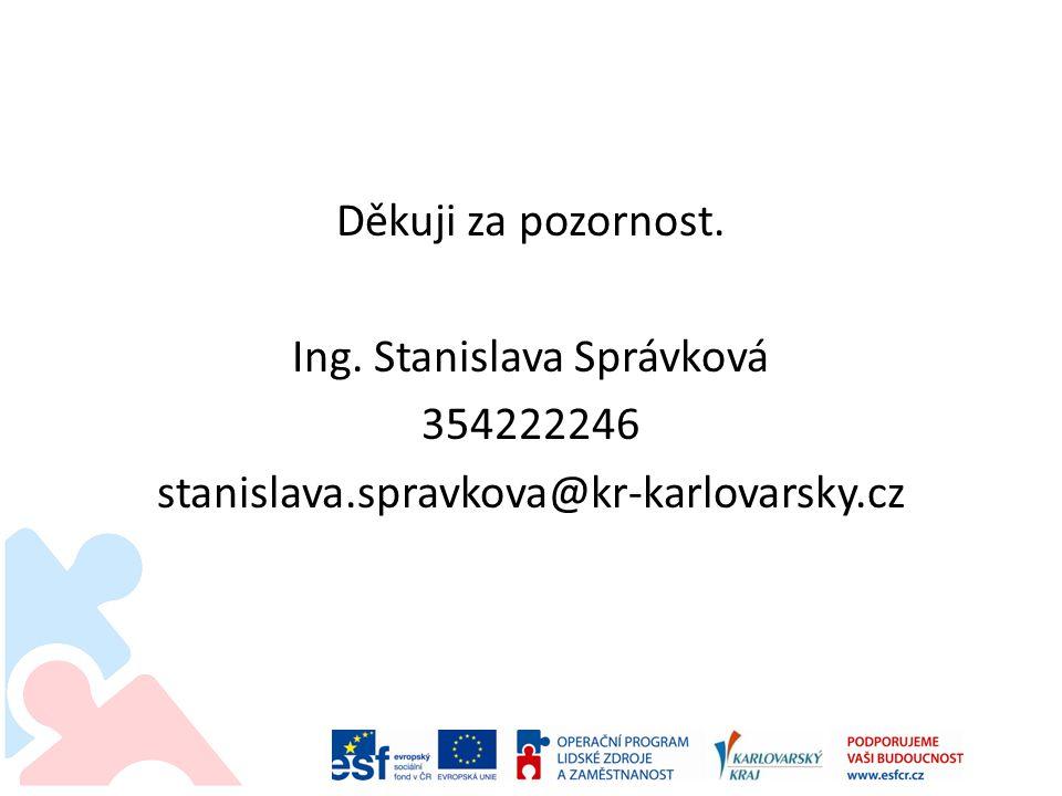 Děkuji za pozornost. Ing. Stanislava Správková 354222246 stanislava.spravkova@kr-karlovarsky.cz