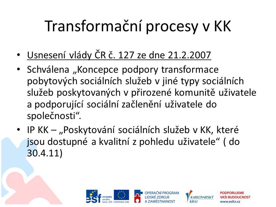 """Transformační procesy v KK Usnesení vlády ČR č. 127 ze dne 21.2.2007 Schválena """"Koncepce podpory transformace pobytových sociálních služeb v jiné typy"""