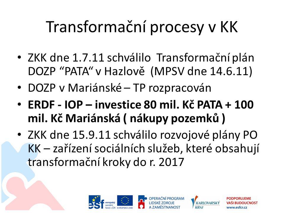 Transformační procesy v KK ZKK dne 1.7.11 schválilo Transformační plán DOZP PATA v Hazlově (MPSV dne 14.6.11) DOZP v Mariánské – TP rozpracován ERDF - IOP – investice 80 mil.