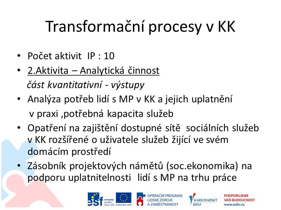 Transformační procesy v KK Počet aktivit IP : 10 2.Aktivita – Analytická činnost část kvantitativní - výstupy Analýza potřeb lidí s MP v KK a jejich uplatnění v praxi,potřebná kapacita služeb Opatření na zajištění dostupné sítě sociálních služeb v KK rozšířené o uživatele služeb žijící ve svém domácím prostředí Zásobník projektových námětů (soc.ekonomika) na podporu uplatnitelnosti lidí s MP na trhu práce