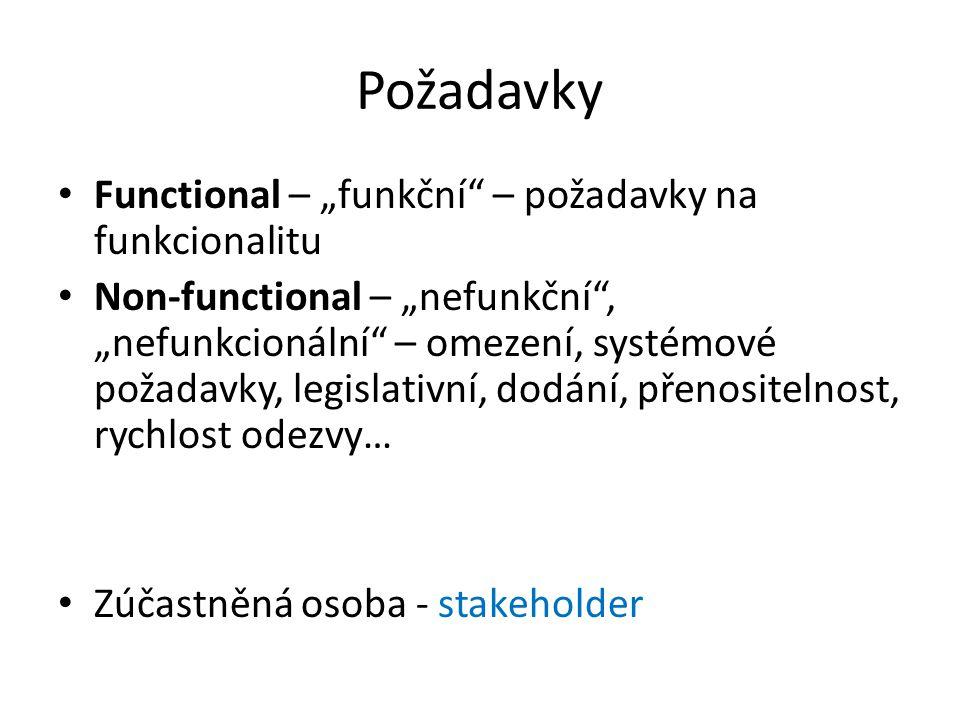 """Požadavky Functional – """"funkční"""" – požadavky na funkcionalitu Non-functional – """"nefunkční"""", """"nefunkcionální"""" – omezení, systémové požadavky, legislati"""