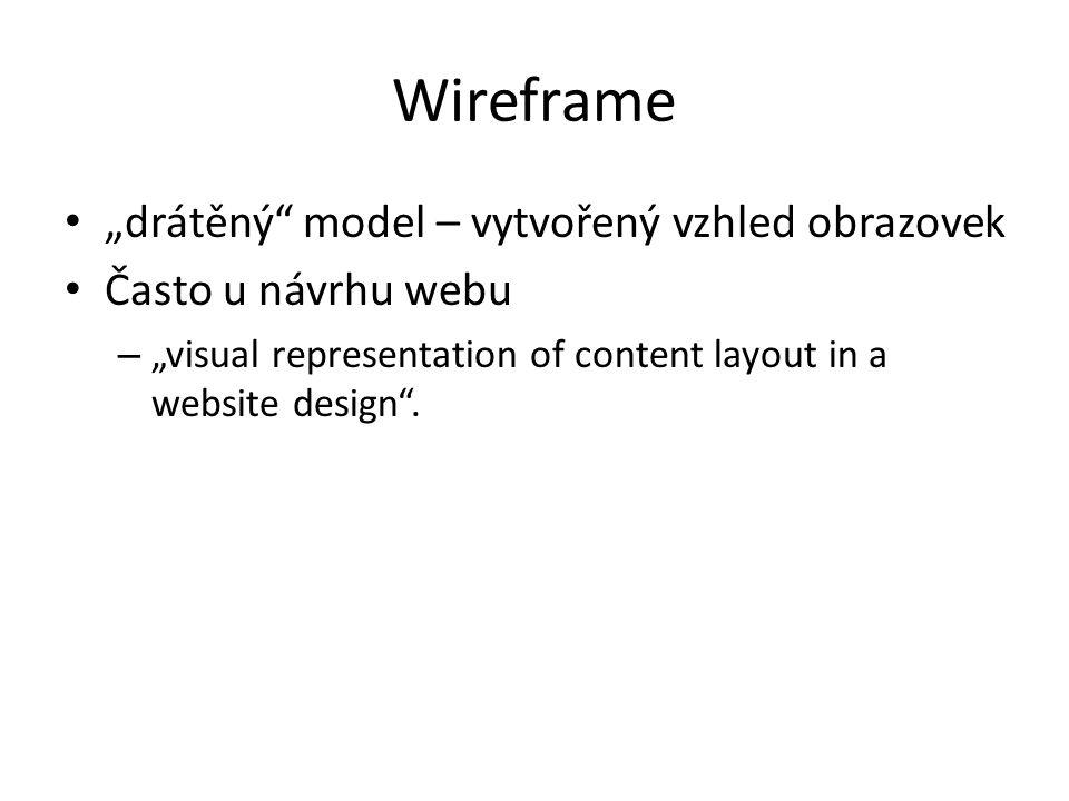 """Wireframe """"drátěný"""" model – vytvořený vzhled obrazovek Často u návrhu webu – """"visual representation of content layout in a website design""""."""