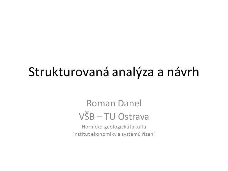 """Historie Tom DeMarco, 1979 – """"Strukturovaná analýza a specifikace procesu Doporučení: – rozdělení systému na subsystémy; – používat grafické znázornění (grafické modely) systému; – před implementací vytvořit logický model systému"""
