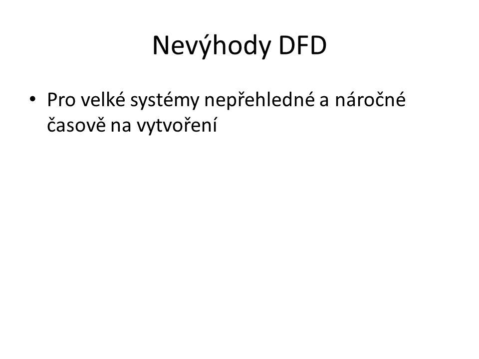 Nevýhody DFD Pro velké systémy nepřehledné a náročné časově na vytvoření