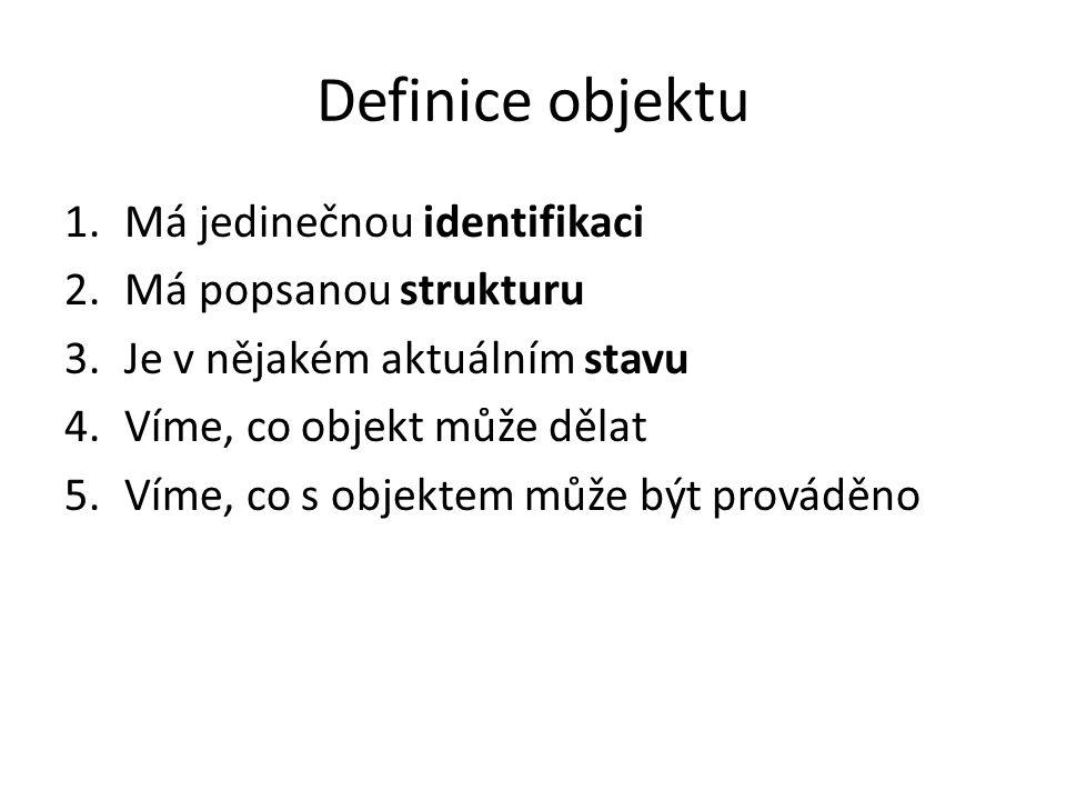 Definice objektu 1.Má jedinečnou identifikaci 2.Má popsanou strukturu 3.Je v nějakém aktuálním stavu 4.Víme, co objekt může dělat 5.Víme, co s objekte