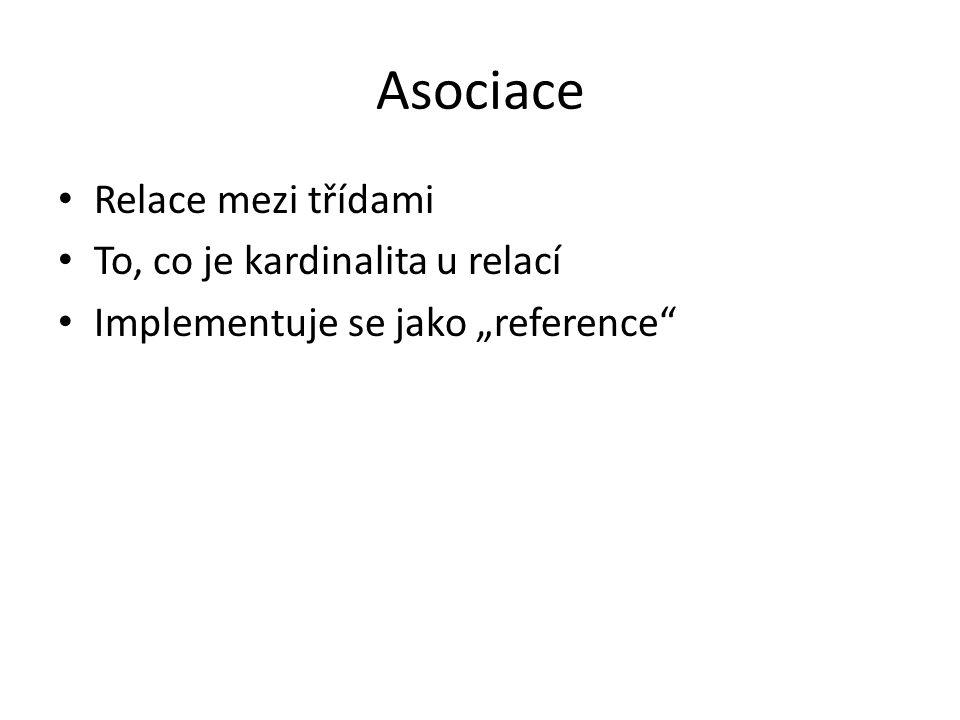 """Asociace Relace mezi třídami To, co je kardinalita u relací Implementuje se jako """"reference"""""""